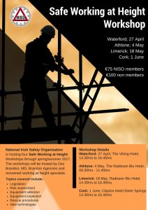 Safe Working at Height Workshop taking place in Athlone, Cork, Limerick and Waterford - flyer
